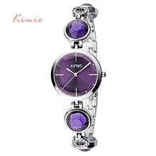 KIMIO Fanshion Calidad de Cristal de Diamante Pulsera de Cuarzo Relojes Mujer Relojes 2016 Marca de Lujo de Las Señoras Relojes de Pulsera Para Las Mujeres