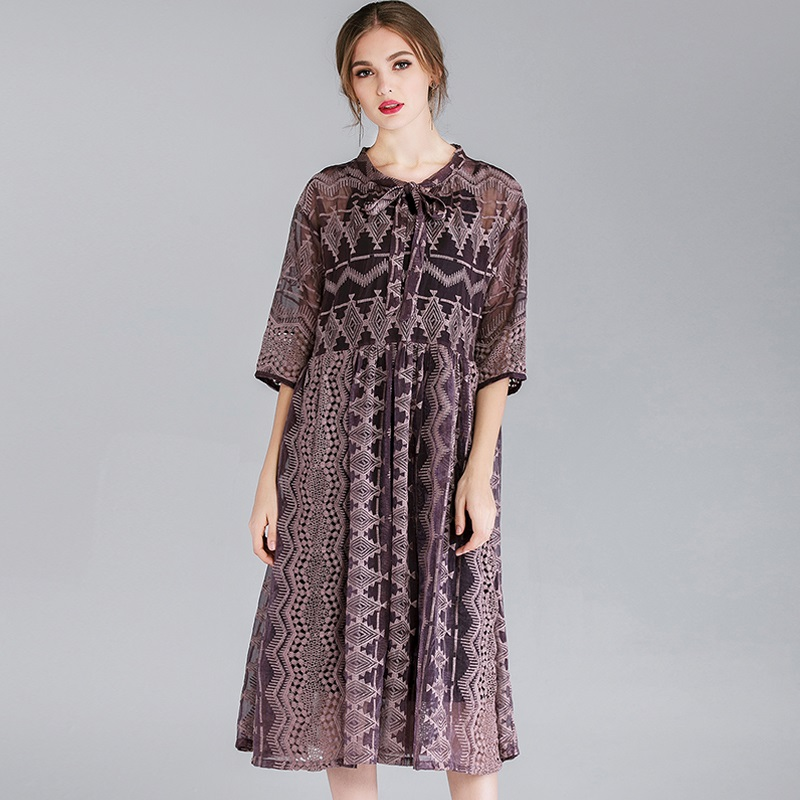 2019 women spring fashion dresses plus size bow collar hollow lace embroidery silk pleated loose long two pieces dress