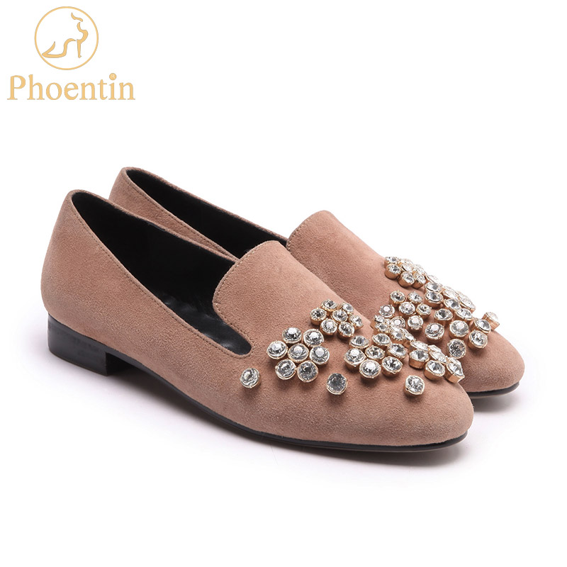 Phoentin crystal pink shoes woman slip-on round toe low heel shoes leisure ladies loafers new 2018 spring free shipping FT360 pink snake print round toe slip on loafers