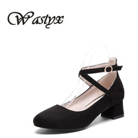 Wastyx new Women Pumps Mary Jane Round Toe Square Heels Pumps Fashion Black pink Shoes Woman mid heel footwear Plus Size 34-47