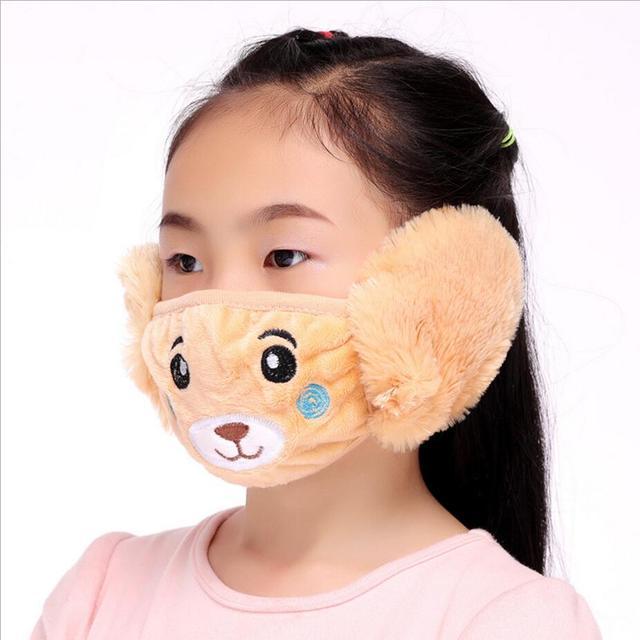 Cute bear Ear protective kids mouth mask Windproof Mouth-muffle anti dust winter masks Children Anti Haze Flu cotton Face masks 3