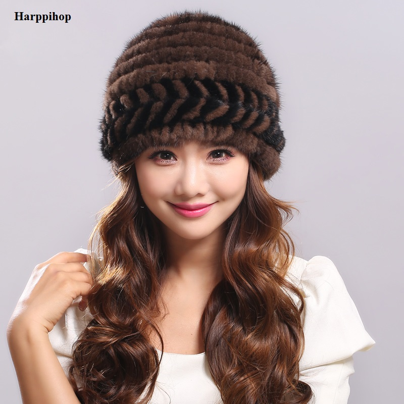 Winter real fur hat for women natural mink fur hat with lining knitted fur beanies with