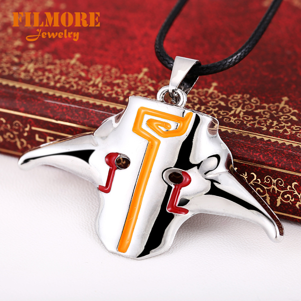 Filmore Online GAME DOTA 2 Necklace Ti4 Jugg Mask Alloy Metal Necklace Jewelry Key Holder Chaveiro Key Gifts Necklace Jewelry