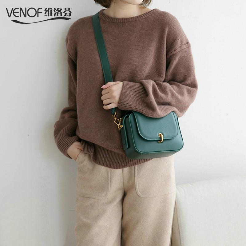 VENOF Fashion split leather crossbody bag for women solid flap bag female small Messenger bag Ladies