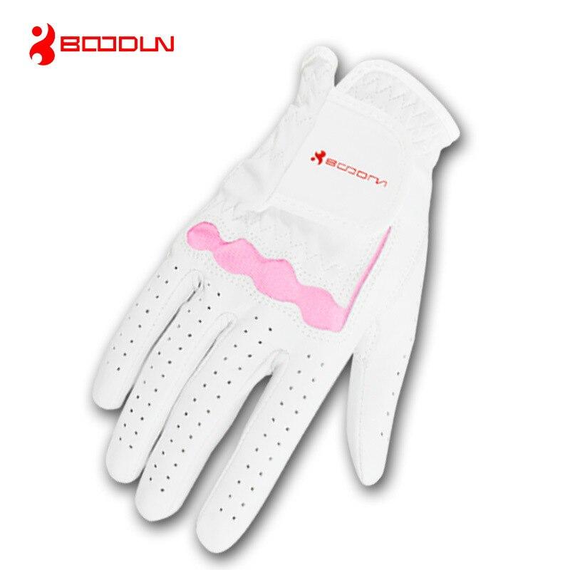 Genuíno para Mulheres Luvas de Golfe para a Mão Acessórios de Golfe Boodun Couro Direita Esquerda Respirável Macio Pele Carneiro Branco Cor Rosa 1 Pçs