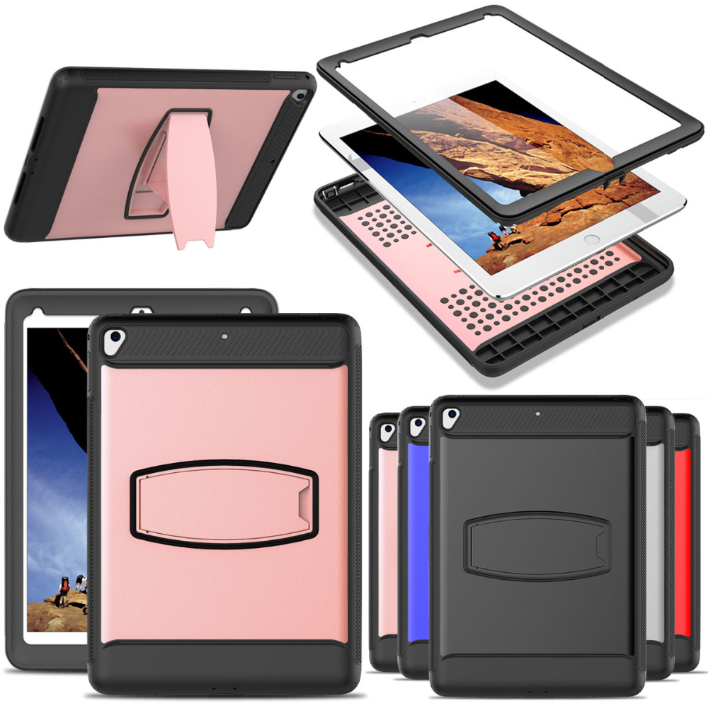 Case For IPad 9.7 2018 2017 6th 5th Generation A1822 A1823 A1893 A1954 Shockproof Rugged Stand Case Cover With Screen Protector