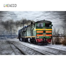 Laeacco Old Steam Engine Train Historic Smoke Pattern Photographic Backgrounds Photography Backdrops Photocall Photo Studio laeacco old steam train station landscape baby photo backgrounds customized digital photography backdrops for photo studio