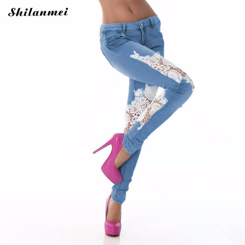 2017 Women Pants Floral Women Fashion High Waist Jeans Skinny Slim Denim Jeans Lace Patchwrok Long Pencil Pant Stretchy Trousers 2017 new jeans women spring pants high waist thin slim elastic waist pencil pants fashion denim trousers 3 color plus size