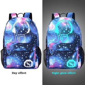 Image 2 - Mochilas escolares para niños mochila para chicas adolescentes con estampado de estrellas espaciales, mochilas escolares para niños, candado antirrobo con cargador USB