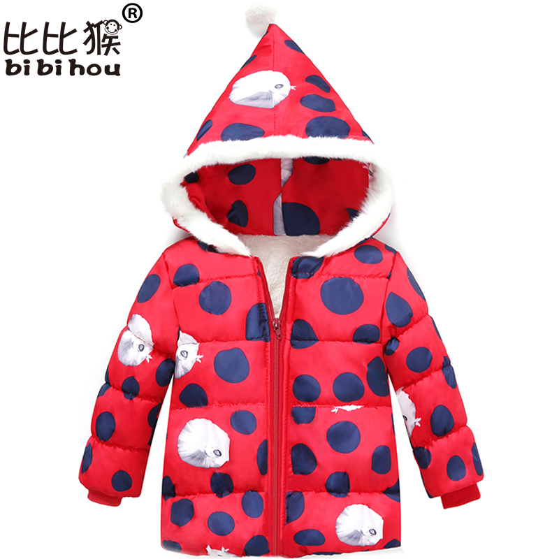 Bibihou Children Clothing New Coat 2017 Winter Warm Girls Coats Outerwear Long Sleeve Kids Clothes Hooded Jackets For Girls Dot