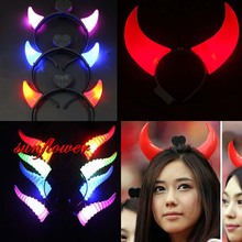 2017 Women Girls LED Flashing Small Middle Big Devil Horn Headband Light-Up Hair Accessories Halloween Glow Party Supplies