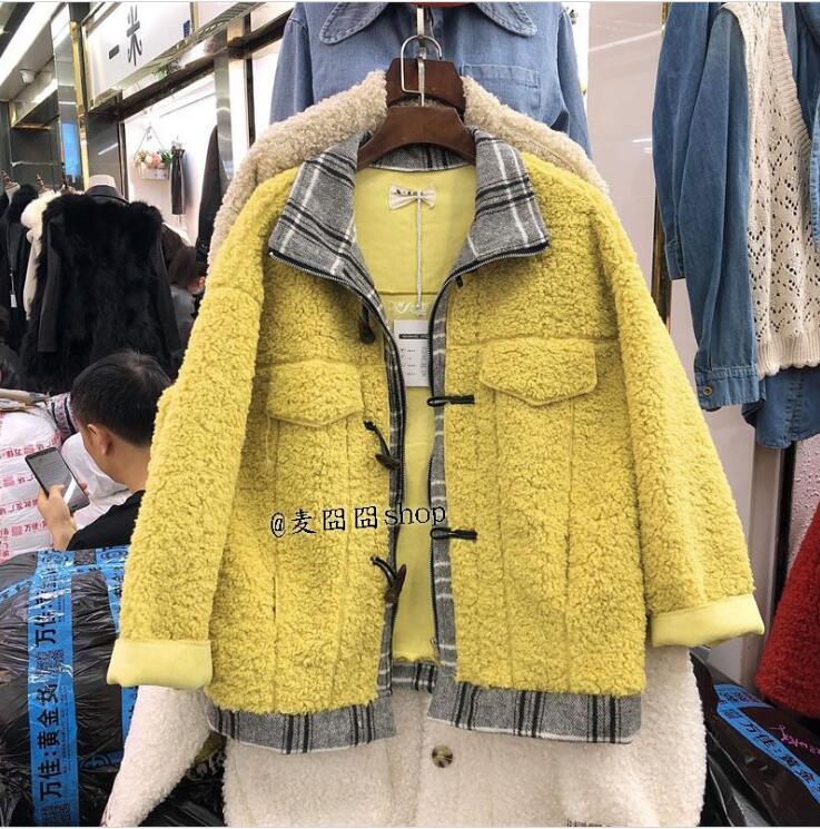 Version Lâche Hiver Manteau Couture Fourrure Et Automne Corne pourpre Des Marée Nouvelle Treillis rouge La De jaune Agneau bleu Laine Beige Boucle Femmes Coréenne 06tqwn5q