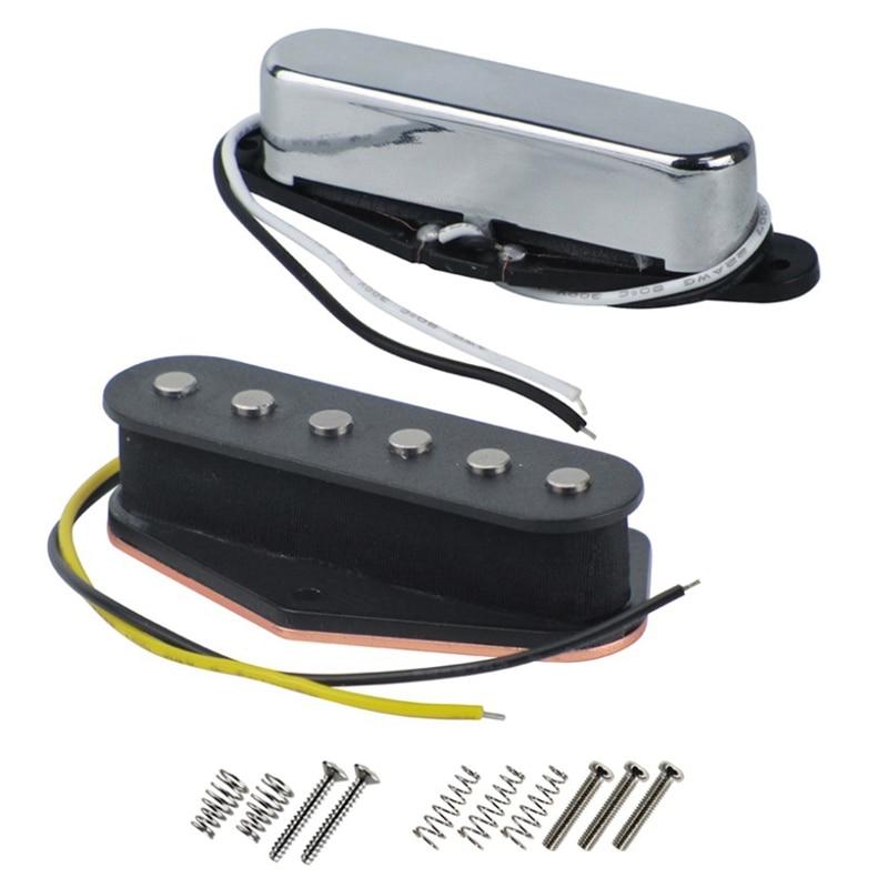Vintage Alnico V Single Coil Pickup Set for Electric Guitar Parts Black