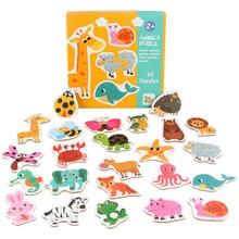 Logwood 24 шт. деревянный пазл для детей мультфильм Животные/фрукты овощи/транспортные средства 3 стиля Монтессори развивающие игрушки