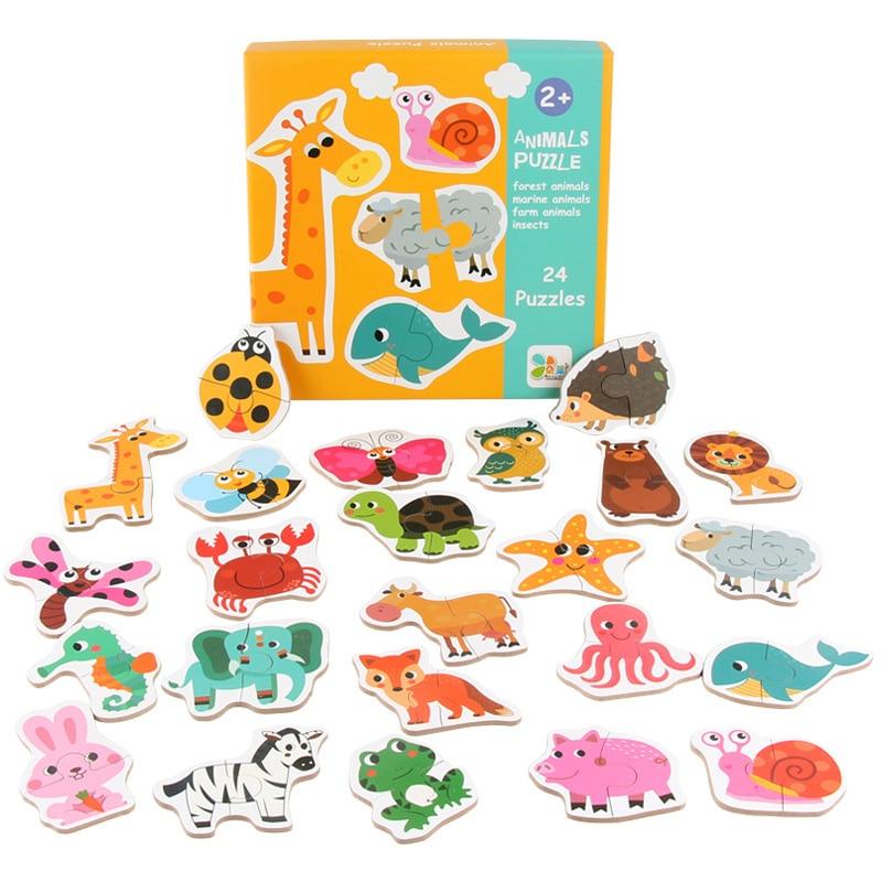 Logwood New 24Pcs Wooden Puzzle For Children Cartoon Animals/fruit Vegetables/vehicles 3 Styles Montessori Educational Toys