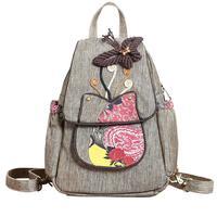 National Style Ladies Women Backpack 3D Butterfly Beaded Leaf Floral Handmade Backpacks Female Bagpack Girls Teens School Bag