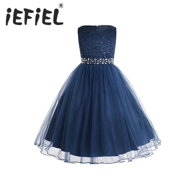 IEFiEL אלגנטי נצנצים ילדים פעוט פרח בנות תחרה שמלת תחרות חתונה כלה ילדי שושבינה נסיכת טול שמלה