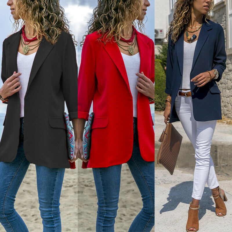 Women's Blazer 2019 Spring Fall Formal Long Sleeve Pure Color OL Style Casual Blazer Work Slim Outwear Big Size Business Blazers