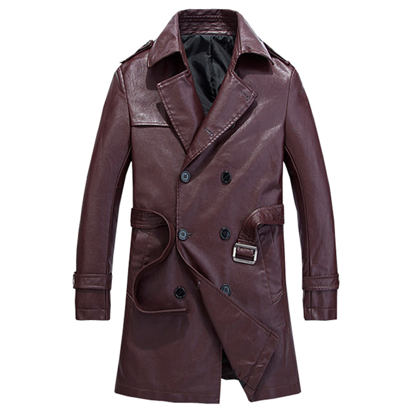 Long Style PU Leather Windbreaker Jacket Men Business Casual Double-Breasted Trench Coat Men's Outwear Slim Jackets and Coats
