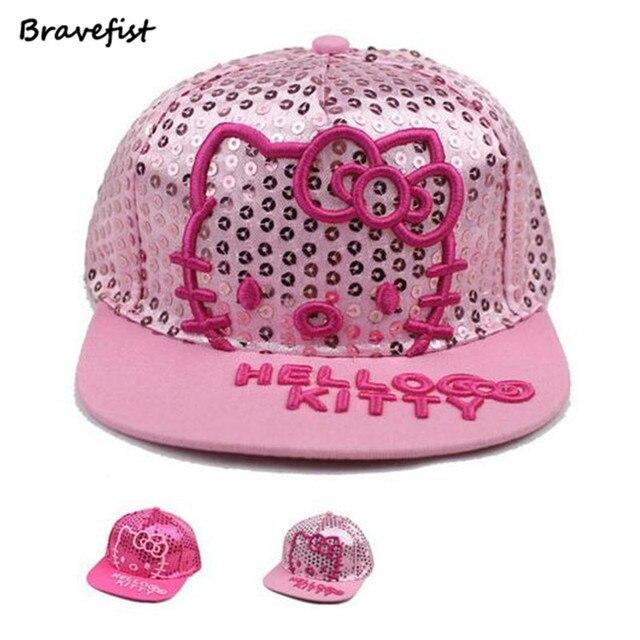 6912843bd5434 New Baby Cotton Baseball Caps Girls Cartoon Sequin Hello Kitty Snapback  Hip-Hop Adjustable Baseball