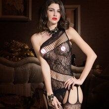 Women Black Sexy Fishnet Lingerie Nightwear One-shoulder Bodystocking without G-string