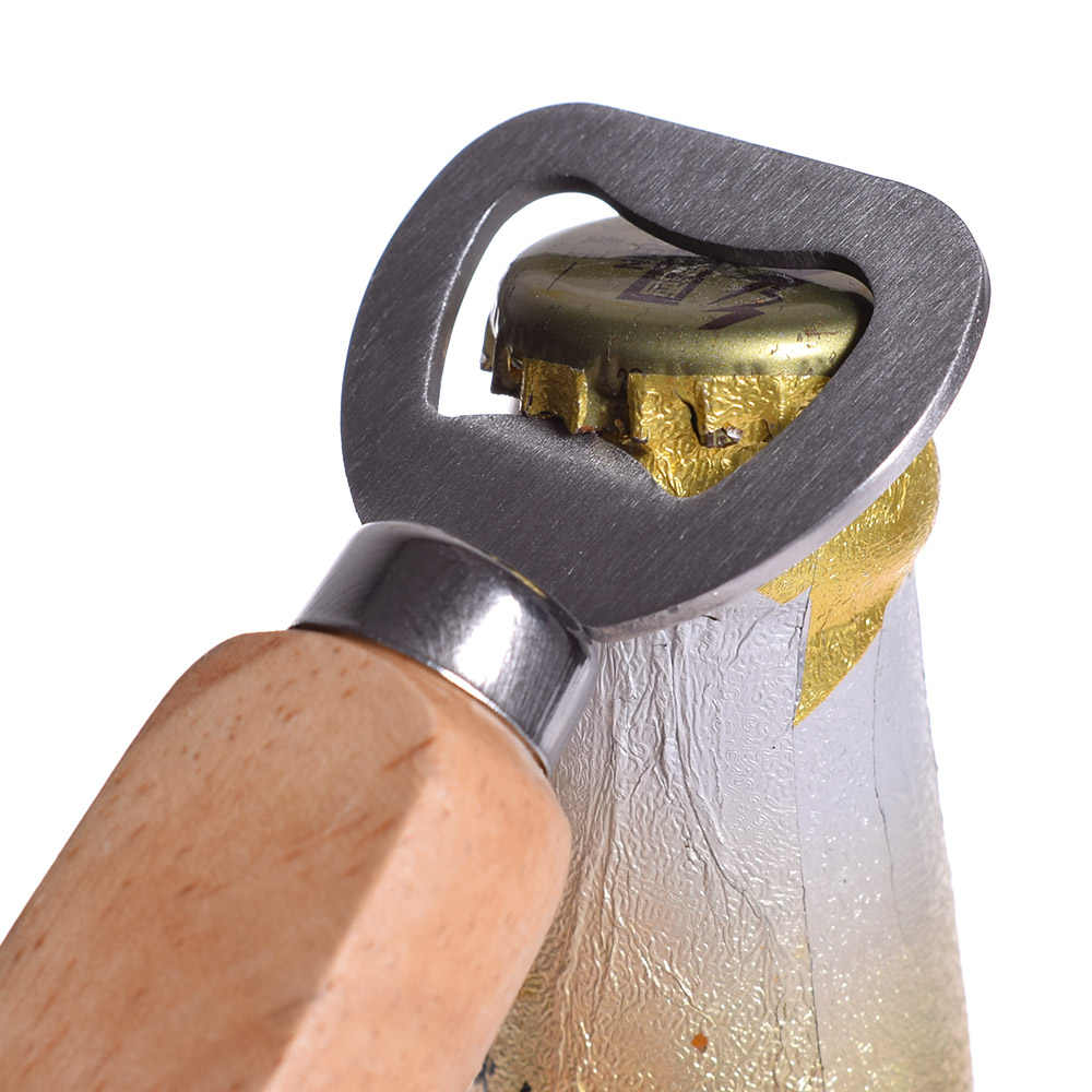 1PC Wood Handle Handheld Bottle Opener Wine Beer Soda Glass Cap Bottle Opener Kitchen Bar tools Staineless Steel Beer Opener