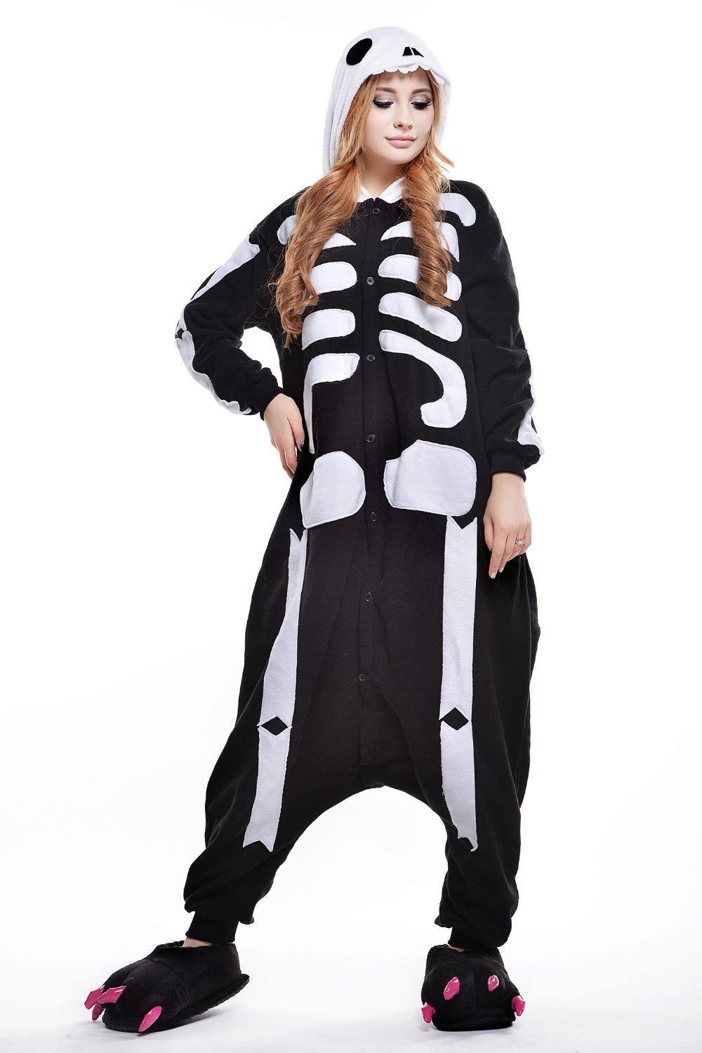 new autumnwinter cartoon skull onesie couples home dress halloween costumes for women and men skeleton anime cosplay clothing - Mens Couple Halloween Costumes