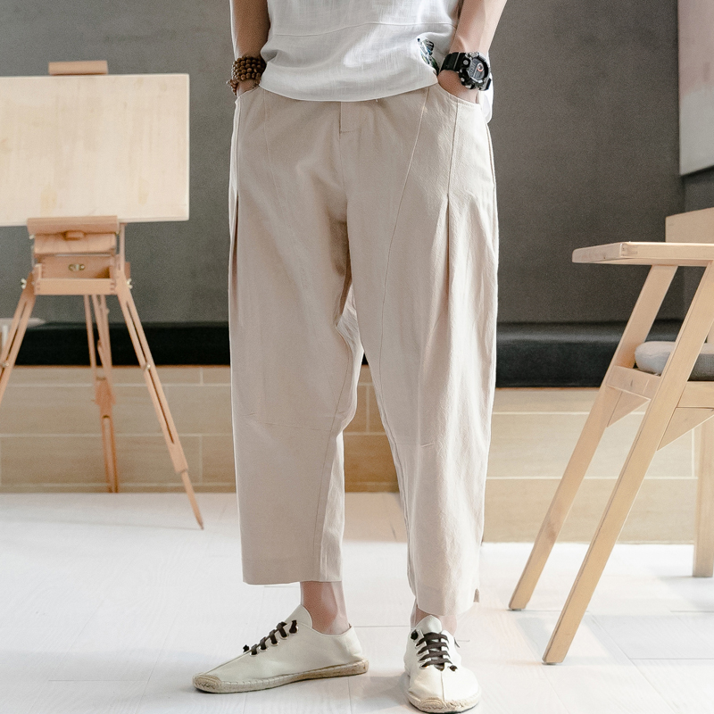 Chinese Style Male Trousers Men Cotton Linen Casual Harem Pant