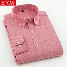 f4c9a91a4ee EYM Брендовые мужские повседневные рубашки 2018 Весна новая однотонная  белая рубашка мужская оксфордская рубашка Молодежный стиль