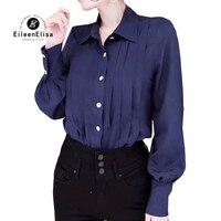 2019 для женщин блузки для малышек модные плиссированные рубашки 100% шелк с длинным рукавом блузки малышек элегантный одноцветн