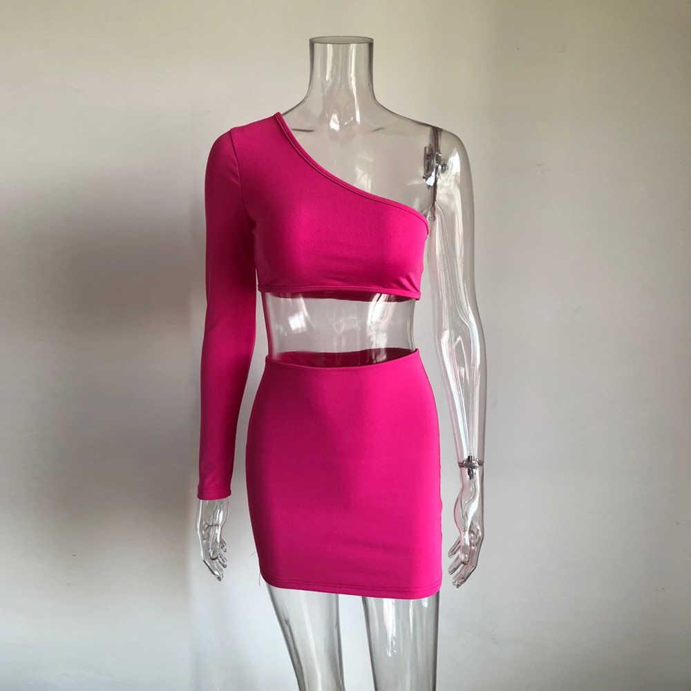 KGFIGU 2 sztuka zestaw kobiet festiwal odzież dwa kawałki zestawy sexy neon crop topy i spódnica zestaw co ord dresy pasujące zestawy