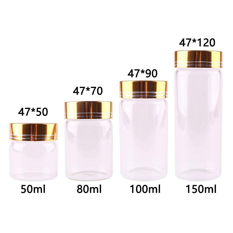 16pcs Dia 47mm 50ml/80ml/100ml/150ml Transparent Glass Spice Bottles Jar Terrarium with Golden Aluminum Lid Wedding Gift