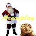 Um Conjunto Completo De Natal Trajes de Papai Noel Para Adultos Roupas Vermelhas Do Natal Papai Noel Traje Terno de Luxo