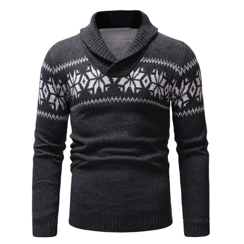 MoneRffi 2019 New Mens Casual Sweater Long Sleeve Slim Fit Knitted Pullover Tops V-Neck Christmas Pattern Autumn Winter Sweaters
