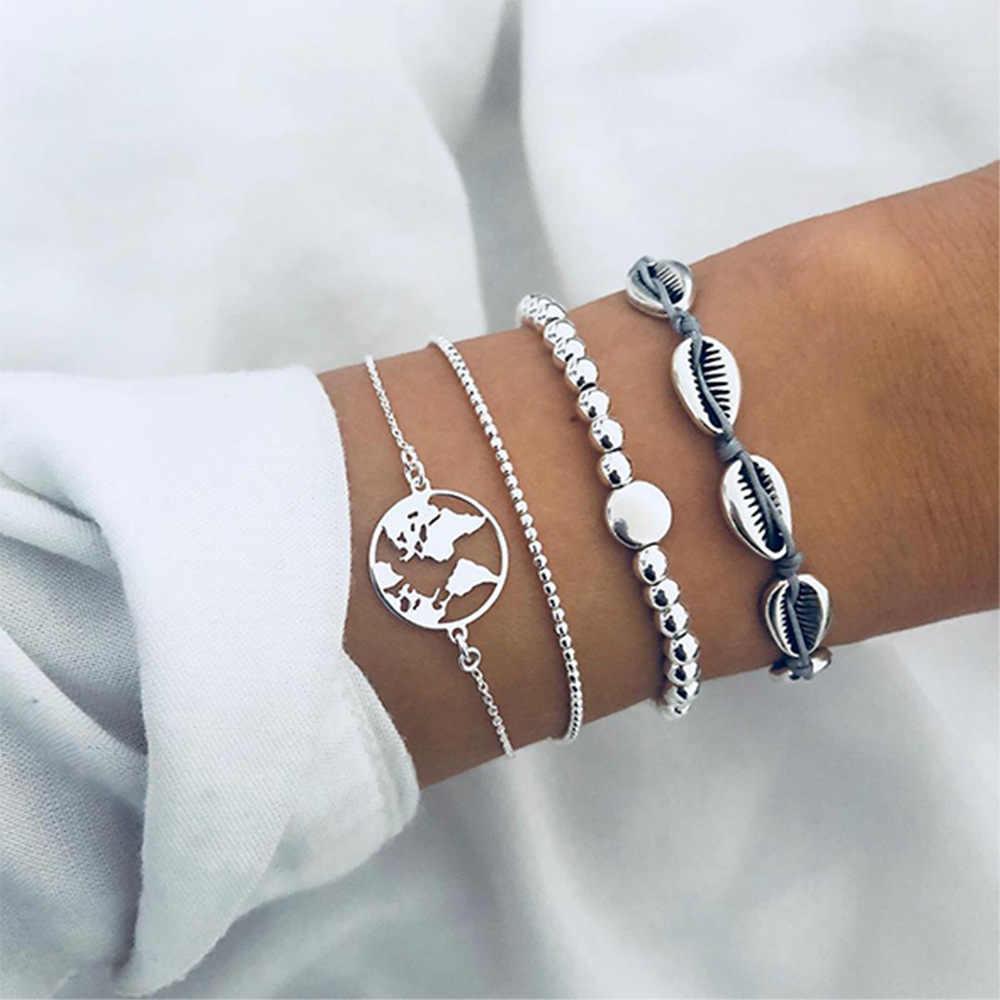 4 Stks/set Retro Zilver Kleur Strand Shell Kaart Kralen Multilayer Ketting Lederen Armband Set Vrouwen Creatieve Mode-sieraden
