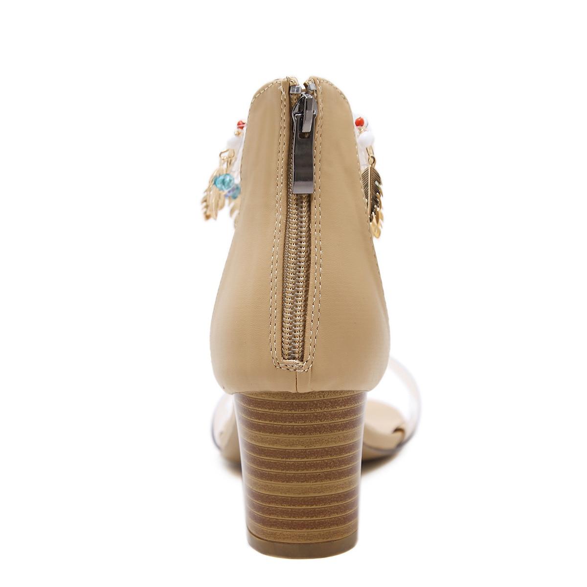 Talons Partie Chaussures Robe Femmes Mariage Pvc Sangle Xingdeng Sandales Strass Bijoux Hauts Glands Cheville black Zip Décoration Fille De Beige An0qRn1