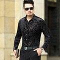 2016 Новое Прибытие Мода Мужчины С Длинным Рукавом Бархат Рубашка Сексуальный Цветочный Бархатные Рубашки