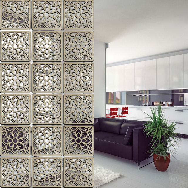 Solid Wood Modern Tiles Minimalist Living Room Partition Shield Entrance Wall Hanging Bedroom Folding Panels