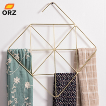 ORZ металлическая вешалка для шарфов, Золотая стойка для хранения, органайзер, держатель для шкафа, ювелирный дисплей, чехол, органайзер для галстука, украшение для дома