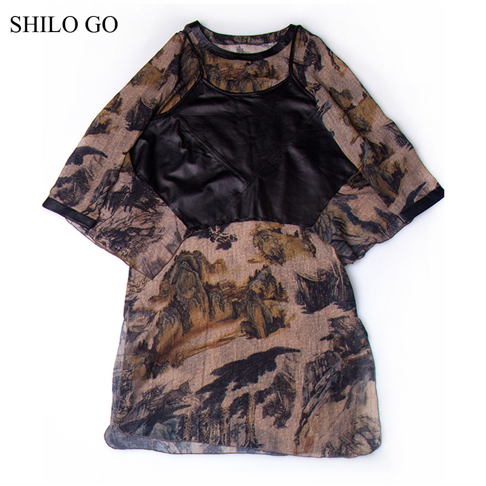 SHILO GO Leather dress Womens Autumn Fashion sheepskin genuine Leather dress short flare sleeve Leather camis Spliced chiffon-in Dresses from Women's Clothing    1