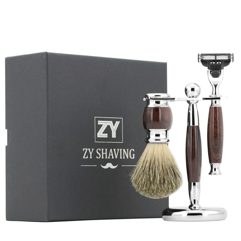 ZY 3pcs/set Man Shaving Razor Set 3 Layer Blade Razor Badger Shaving Brush For Shave Tool Safety Stand Holder Removable grandslam 3pcs set man double edge safety razor shaving razor set long handle badger shaving brush stand holder wet shave tool