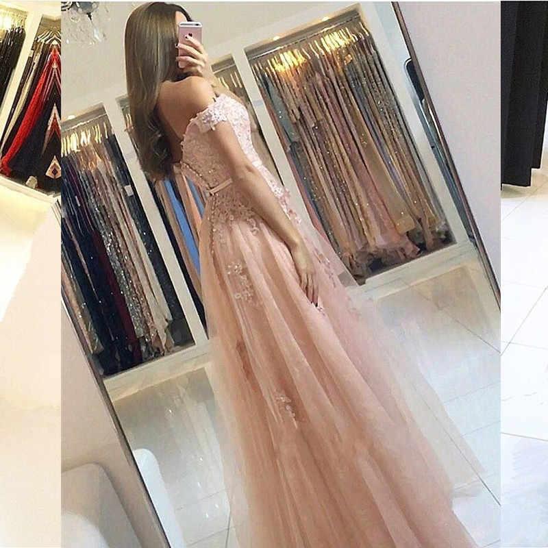 Халат De Soiree 2019 Элегантный с плеча для выпускного платья, аппликации из Кружева Тюль вечернее официальное платье платья большого размера длинное платье