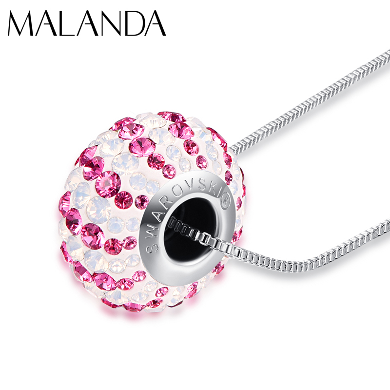 Crystal From Swarovski Round Colorful Candy Beads Pendant Necklace For Women New Fashion Necklaces Wedding Jewelry Girl Mom Gift