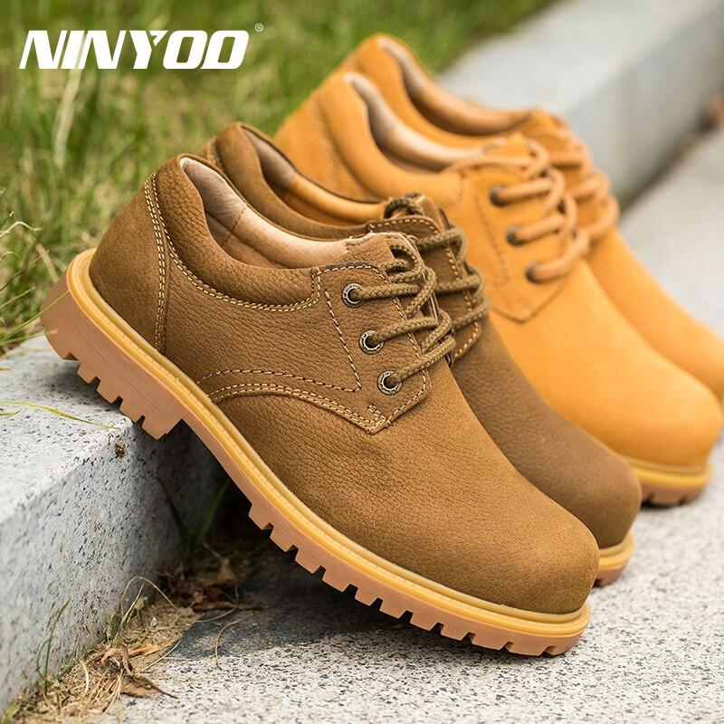 Botas de trabajo para hombre al aire libre de tamaño pequeño NINYOO botas de invierno de cuero genuino a prueba de agua a prueba de desgaste botas del ejército hombres Plus Size36 48 - 6