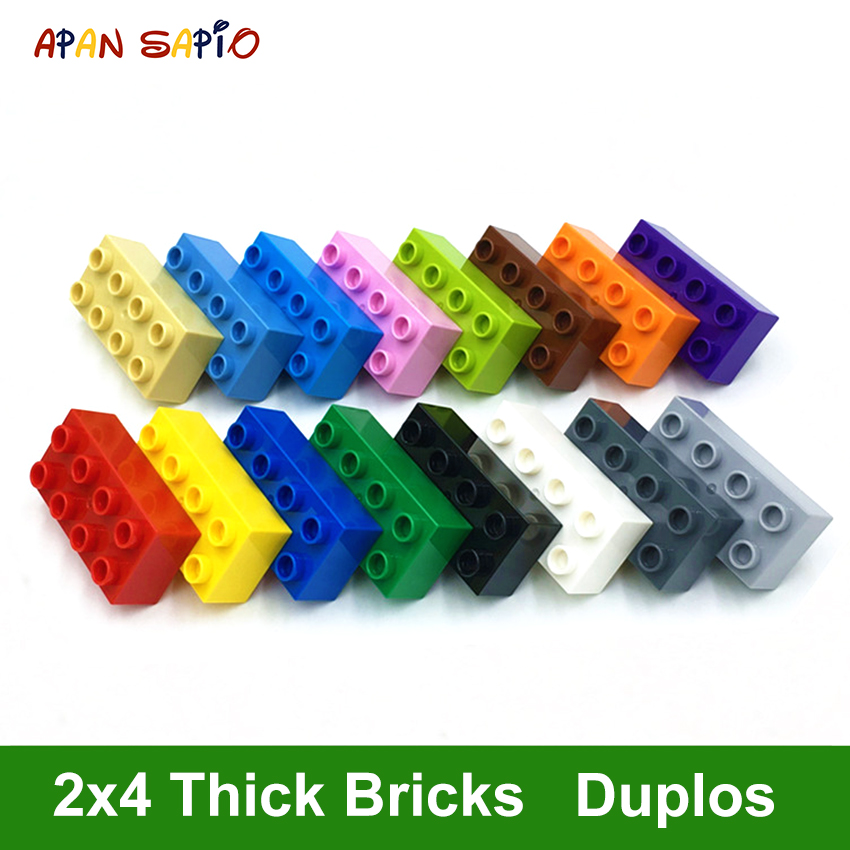 Big Size DIY Building Blocks Thick Figures Bricks 2x4Dot 8PCS Educational Creative Toys For Children Compatible With Brands