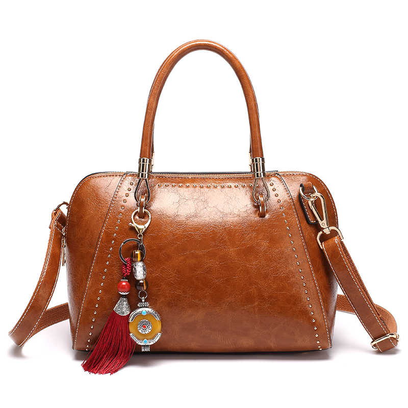 Brown patent  Casual tote bag ladies Women's handbag genuine leather messenger shoulder bag female top handle hand bags lady T55
