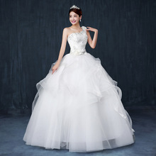 Free shipping new style elegant wedding gown Fashion one shoulder lace Crystal strappy wedding dresses floor