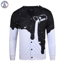 Mr.1991INC Kühle Hip Hop Shirts Männer Langarm V-ausschnitt Taste Bluse Drucken Tasse Milch Gießen 3d Tees Shirts Tops