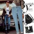 Moda Vintage Talle Alto Jeans Mamá Pantalones Boyfriend Jeans Sueltos Pantalones Rectos de Las Mujeres de la Mujer Ocasional Delgado Denim Blue Jeans