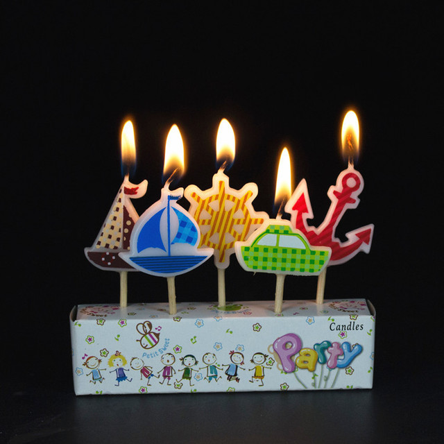 5pcsset Sailor Ship Anchor Craft Candles Cupcake Candle Toppers